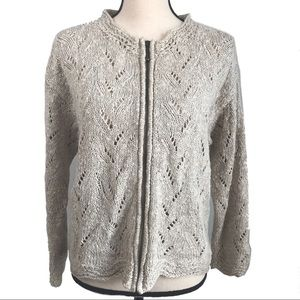 Icelandic Design Ivory Zip Front Cardigan Sweater